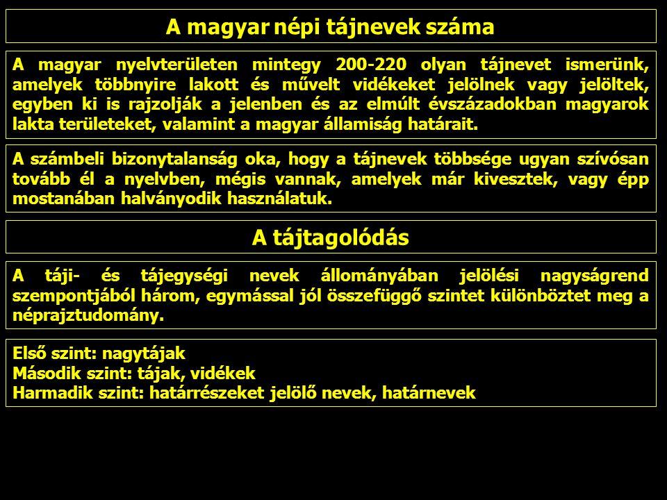 A magyar népi tájnevek száma A magyar nyelvterületen mintegy 200-220 olyan tájnevet ismerünk, amelyek többnyire lakott és művelt vidékeket jelölnek va