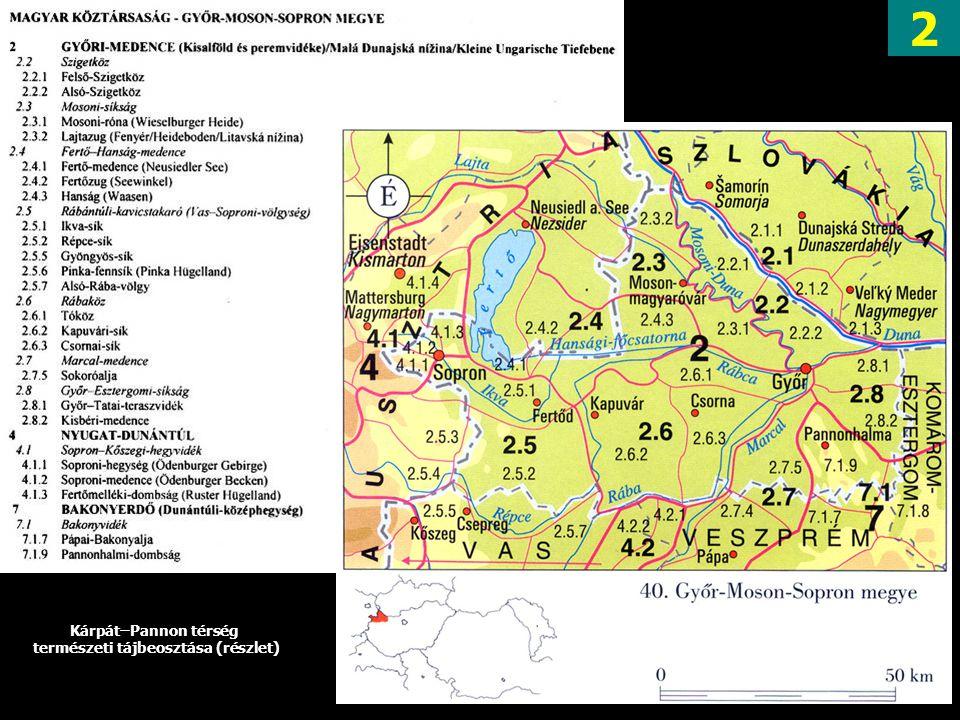 2 Kárpát–Pannon térség természeti tájbeosztása (részlet)