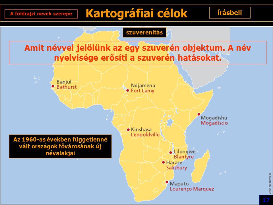 Kartográfiai célok írásbeli A földrajzi nevek szerepe szuverenitás Amit névvel jelölünk az egy szuverén objektum. A név nyelvisége erősíti a szuverén