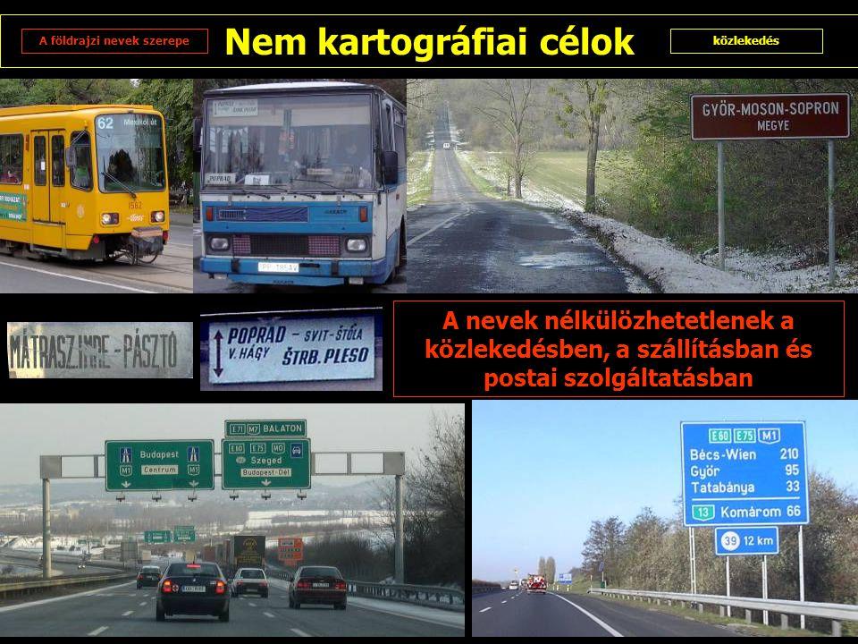 Nem kartográfiai célok A földrajzi nevek szerepeközlekedés A nevek nélkülözhetetlenek a közlekedésben, a szállításban és postai szolgáltatásban