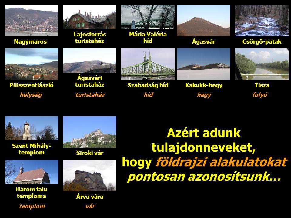 Kartográfiai célok írásbeli A földrajzi nevek szerepe A nevek kapcsolatot hoznak létre az írásbeli közlésben NagymarosL-M17 Az egykori Hont vármegye, ma Pest megye területén fekvő 4385 lakosú kisváros.