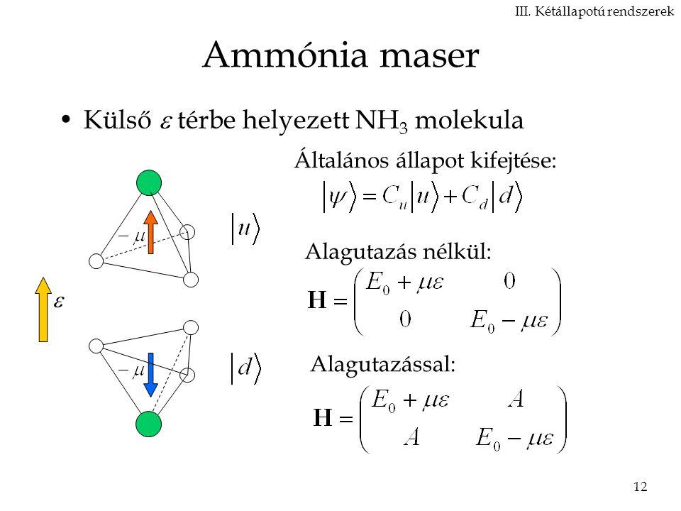 12 Ammónia maser Külső  térbe helyezett NH 3 molekula III.