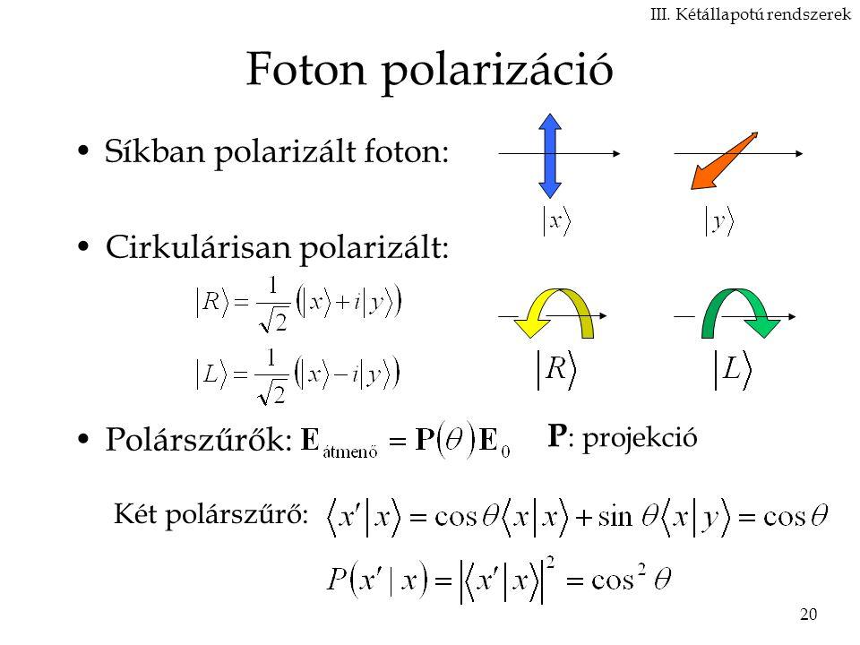 20 Foton polarizáció Síkban polarizált foton: Cirkulárisan polarizált: Polárszűrők: III.