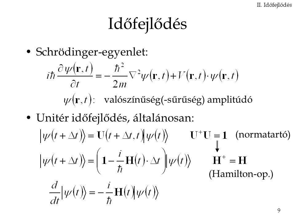 9 Időfejlődés Schrödinger-egyenlet: Unitér időfejlődés, általánosan: II.