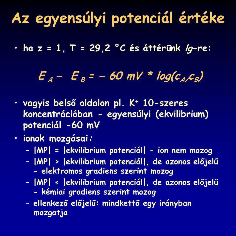 Az egyensúlyi potenciál értéke ha z = 1, T = 29,2 °C és áttérünk lg-re: E A  E B =  60 mV * log(c A/ c B ) vagyis belső oldalon pl. K + 10-szeres ko