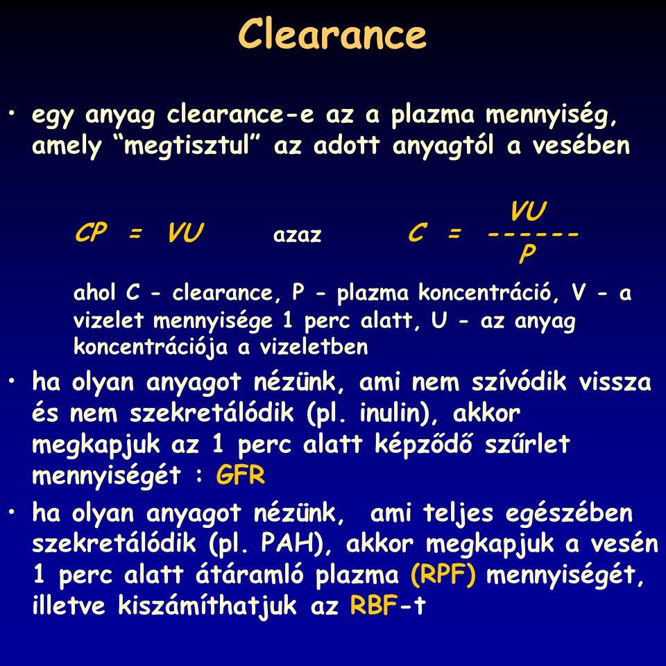 """Clearance egy anyag clearance-e az a plazma mennyiség, amely """"megtisztul"""" az adott anyagtól a vesében VU CP = VU azaz C = ------ P ahol C - clearance,"""