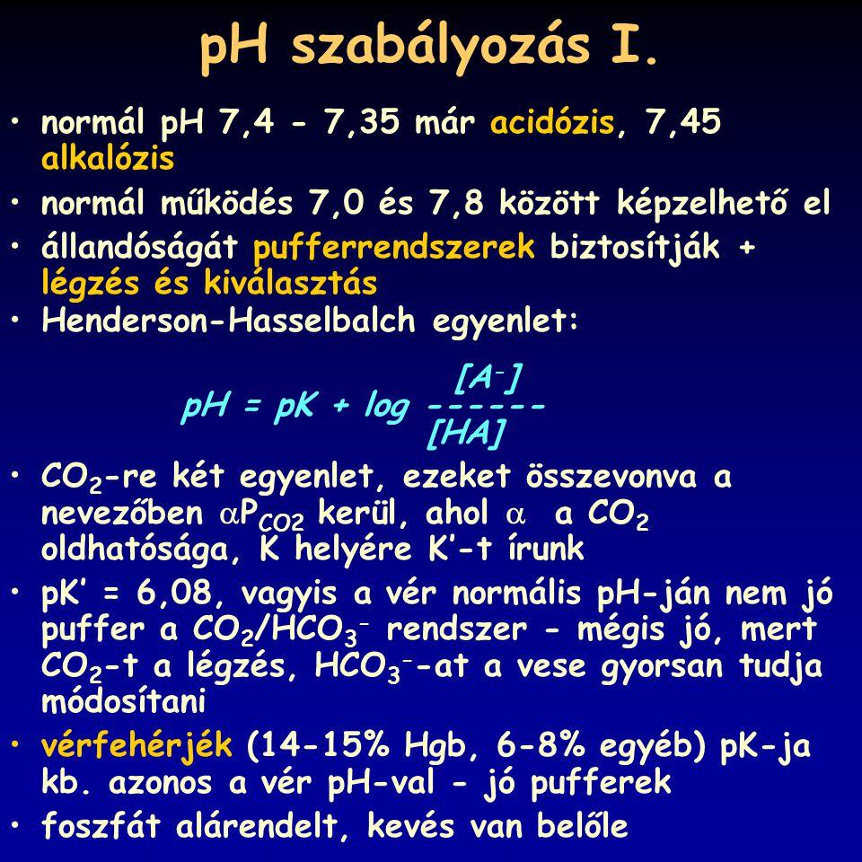 pH szabályozás I. normál pH 7,4 - 7,35 már acidózis, 7,45 alkalózis normál működés 7,0 és 7,8 között képzelhető el állandóságát pufferrendszerek bizto