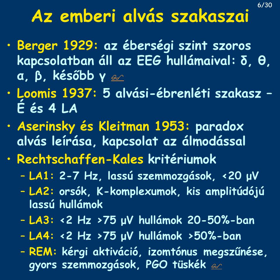 Az emberi alvás szakaszai Berger 1929: az éberségi szint szoros kapcsolatban áll az EEG hullámaival: δ, θ, α, β, később γ   Loomis 1937: 5 alvási-éb