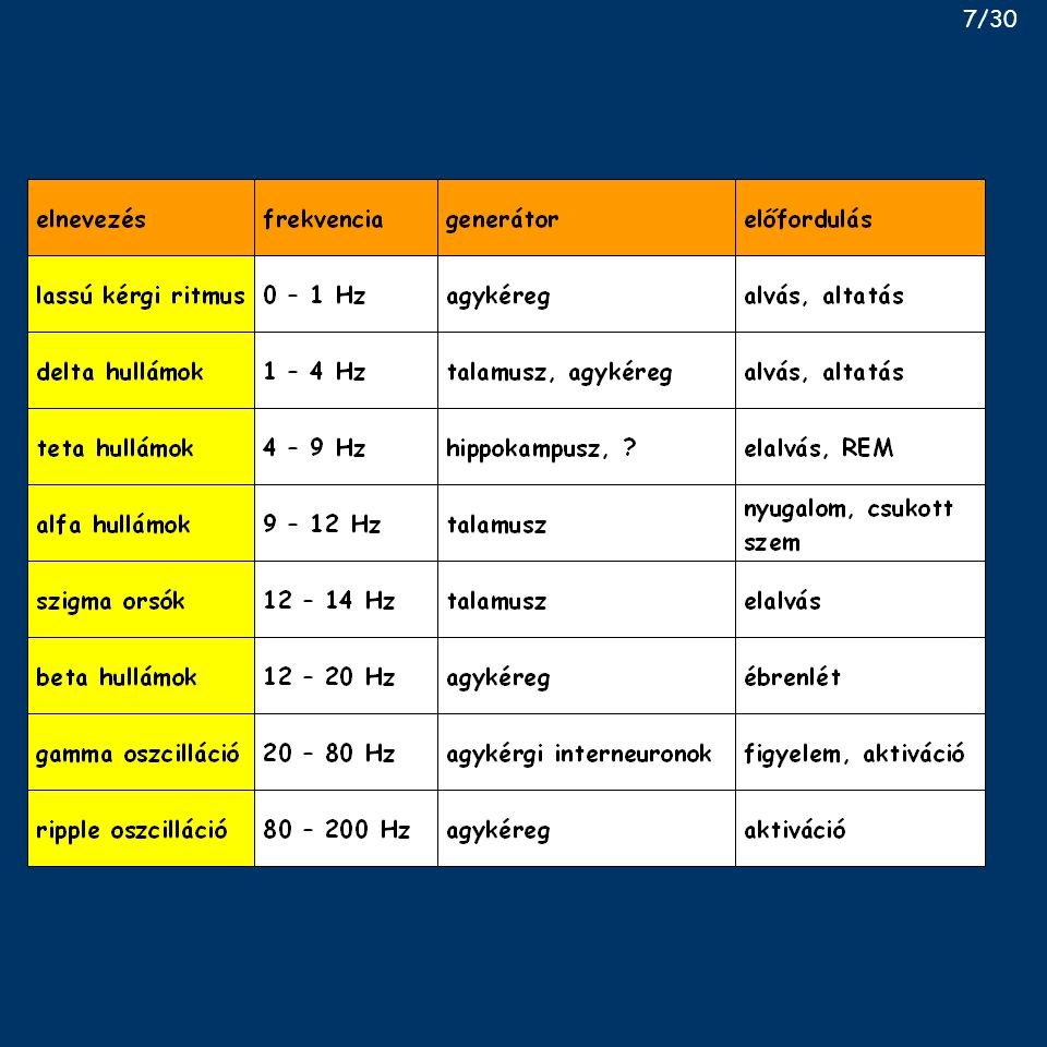 Alvásfaktorok Ishimori, Pieron, ~1910: kutyasétáltatás 10 napig – pozitív alvás transzfer metodikai problémák - kecske–patkány viszonylatban megismételve pozitív eredménnyel depriváció nélkül is hatásos – emberi vizelet gyűjtése végeredmény: muramyl peptid Uchinozo alvásdeprivált patkány agytörzs - uridin, oxidált glutation (glu-cys-gly) Monnier talamusz ingerlés nyúlban: DSIP (9 as) nem természetes alvásfaktorok belső anyagok: GHRH, adenozin, interleukin-1, TNFα, PGD2 18/30