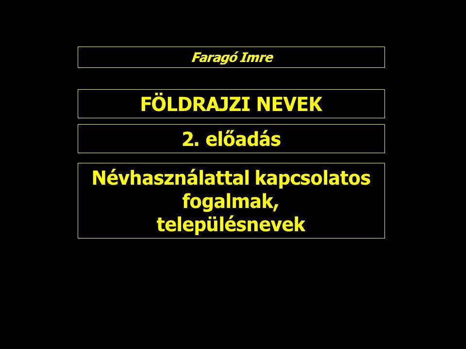 FÖLDRAJZI NEVEK 2. előadás Faragó Imre Névhasználattal kapcsolatos fogalmak, településnevek