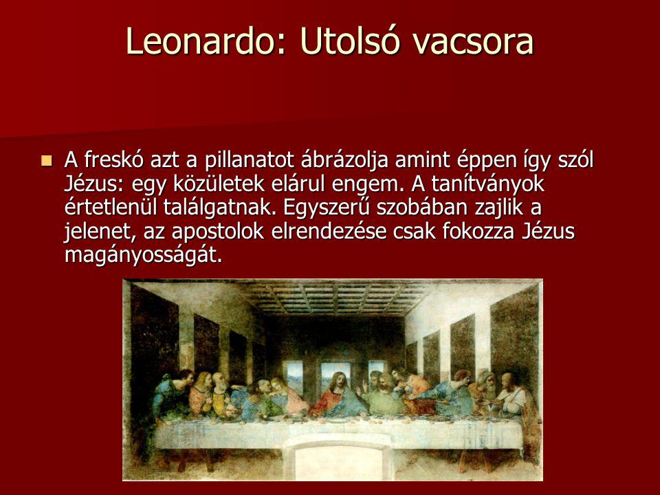 Leonardo: Utolsó vacsora A freskó azt a pillanatot ábrázolja amint éppen így szól Jézus: egy közületek elárul engem.