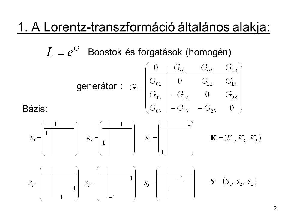 2 1. A Lorentz-transzformáció általános alakja: Bázis: Boostok és forgatások (homogén) generátor :