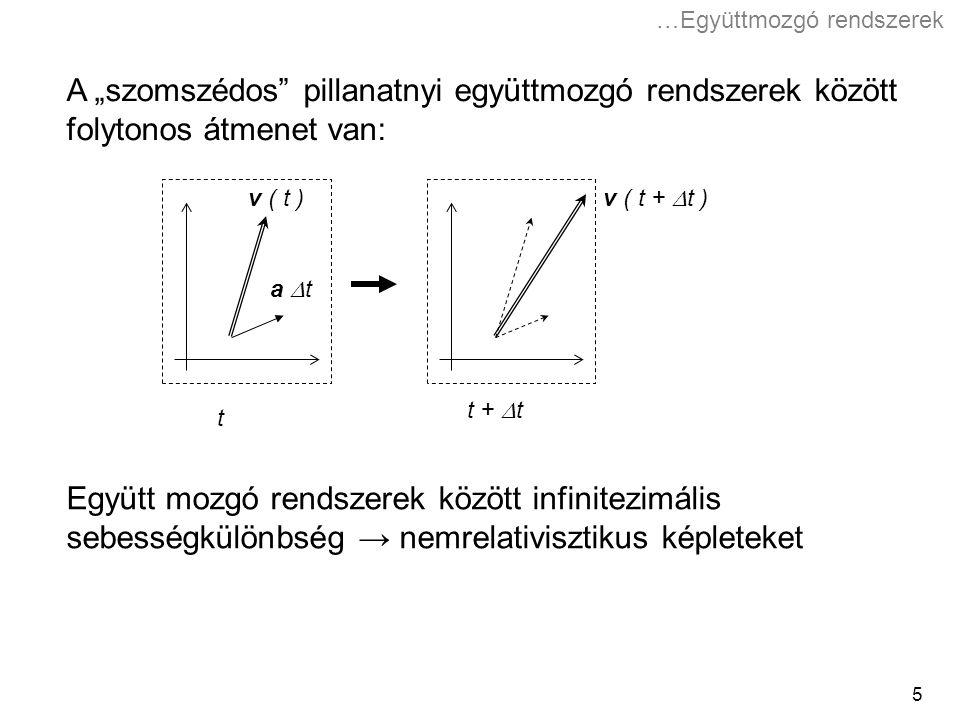 """5 Együtt mozgó rendszerek között infinitezimális sebességkülönbség → nemrelativisztikus képleteket A """"szomszédos pillanatnyi együttmozgó rendszerek között folytonos átmenet van: t t +  t v ( t ) v ( t +  t ) a  t …Együttmozgó rendszerek"""