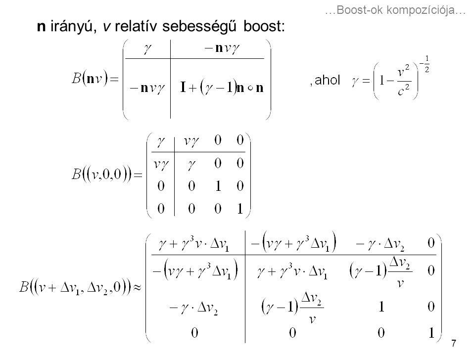 7 n irányú, v relatív sebességű boost: …Boost-ok kompozíciója…