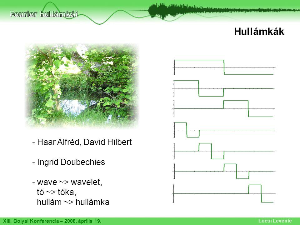 XIII. Bolyai Konferencia – 2008. április 19. Lócsi Levente Hullámkák - Haar Alfréd, David Hilbert - Ingrid Doubechies - wave ~> wavelet, tó ~> tóka, h