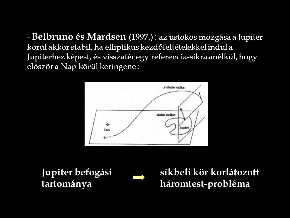 - Belbruno és Mardsen (1997.) : az üstökös mozgása a Jupiter körül akkor stabil, ha elliptikus kezdőfeltételekkel indul a Jupiterhez képest, és vissza