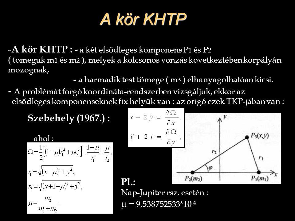 A kör KHTP - A kör KHTP : - a két elsődleges komponens P 1 és P 2 ( tömegük m 1 és m 2 ), melyek a kölcsönös vonzás következtében körpályán mozognak,