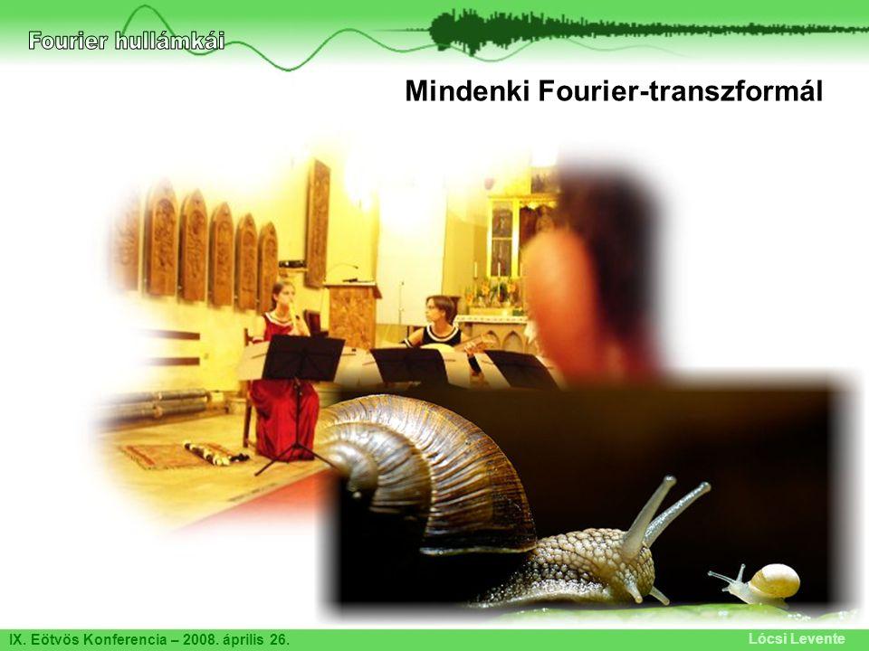 IX. Eötvös Konferencia – 2008. április 26. Lócsi Levente Mindenki Fourier-transzformál