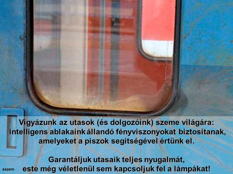 Vigyázunk az utasok (és dolgozóink) szeme világára: intelligens ablakainkállandó fényviszonyokat biztosítanak, amelyeket a piszok segítségével értünk el.