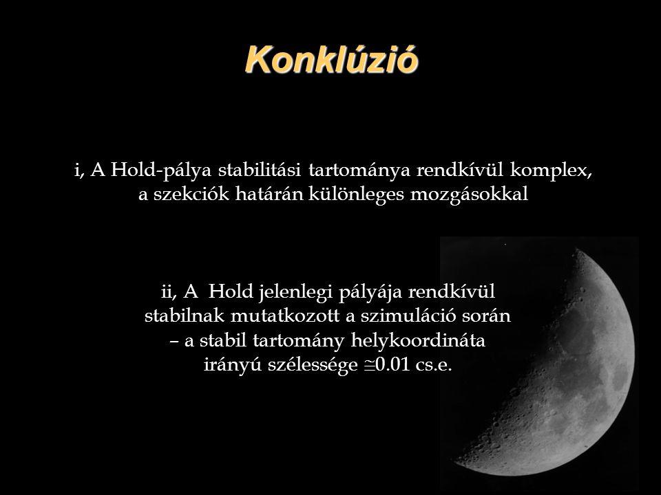 Konklúzió i, A Hold-pálya stabilitási tartománya rendkívül komplex, a szekciók határán különleges mozgásokkal ii, A Hold jelenlegi pályája rendkívül s