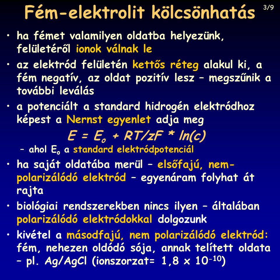 ha fémet valamilyen oldatba helyezünk, felületéről ionok válnak le az elektród felületén kettős réteg alakul ki, a fém negatív, az oldat pozitív lesz