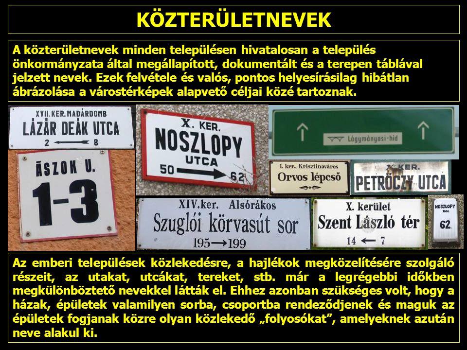 KÖZTERÜLETNEVEK A közterületnevek minden településen hivatalosan a település önkormányzata által megállapított, dokumentált és a terepen táblával jelzett nevek.
