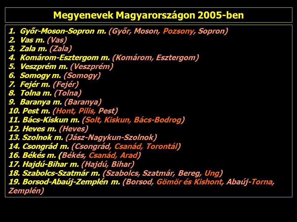 1.Győr-Moson-Sopron m. (Győr, Moson, Pozsony, Sopron) 2.