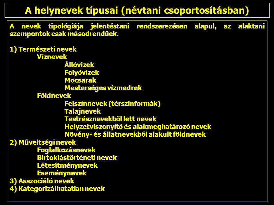 A nevek tipológiája jelentéstani rendszerezésen alapul, az alaktani szempontok csak másodrendűek. 1) Természeti nevek Víznevek Állóvizek Folyóvizek Mo