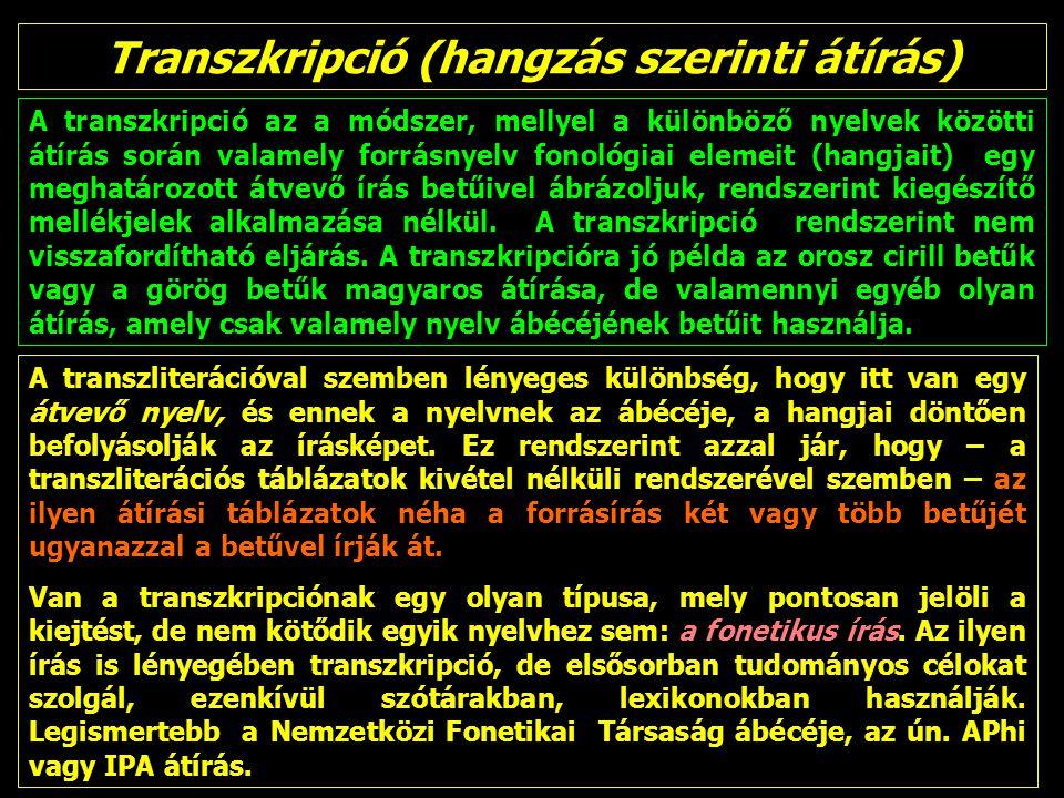 Transzkripció (hangzás szerinti átírás) A transzkripció az a módszer, mellyel a különböző nyelvek közötti átírás során valamely forrásnyelv fonológiai elemeit (hangjait) egy meghatározott átvevő írás betűivel ábrázoljuk, rendszerint kiegészítő mellékjelek alkalmazása nélkül.