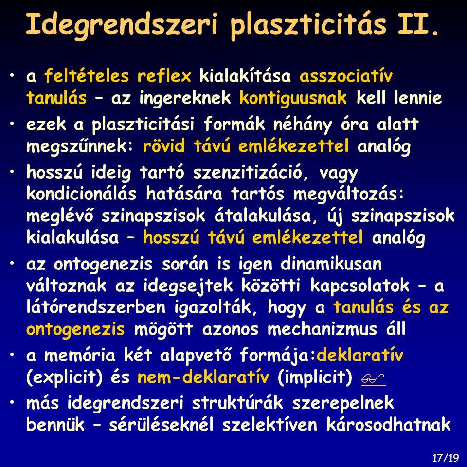Idegrendszeri plaszticitás II. a feltételes reflex kialakítása asszociatív tanulás – az ingereknek kontiguusnak kell lennie ezek a plaszticitási formá