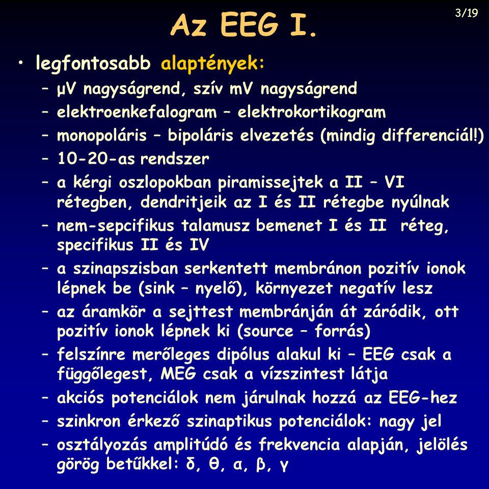 Az EEG I. legfontosabb alaptények: –μV nagyságrend, szív mV nagyságrend –elektroenkefalogram – elektrokortikogram –monopoláris – bipoláris elvezetés (