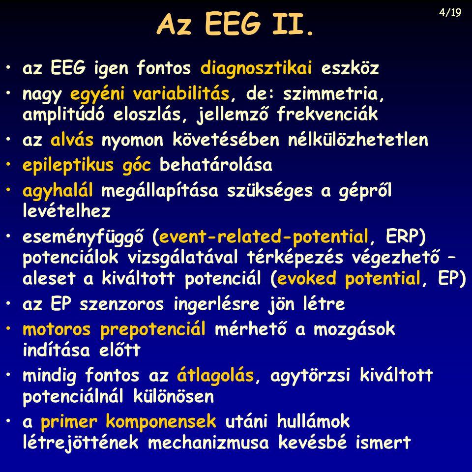 Az EEG II. az EEG igen fontos diagnosztikai eszköz nagy egyéni variabilitás, de: szimmetria, amplitúdó eloszlás, jellemző frekvenciák az alvás nyomon