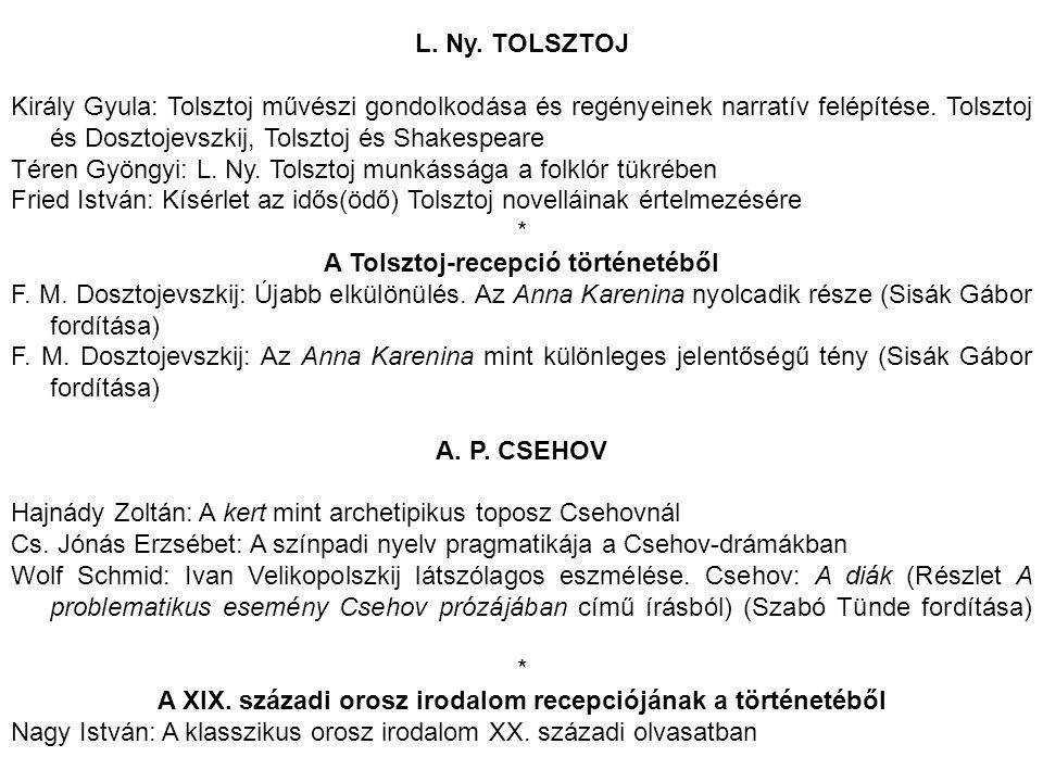 L. Ny. TOLSZTOJ Király Gyula: Tolsztoj művészi gondolkodása és regényeinek narratív felépítése. Tolsztoj és Dosztojevszkij, Tolsztoj és Shakespeare Té