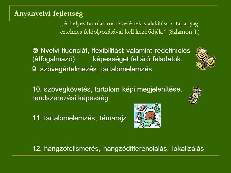 """Anyanyelvi fejlettség """"A helyes tanulás módszerének kialakítása a tananyag értelmes feldolgozásával kell kezdődjék."""" (Salamon J.)  Nyelvi fluenciát,"""