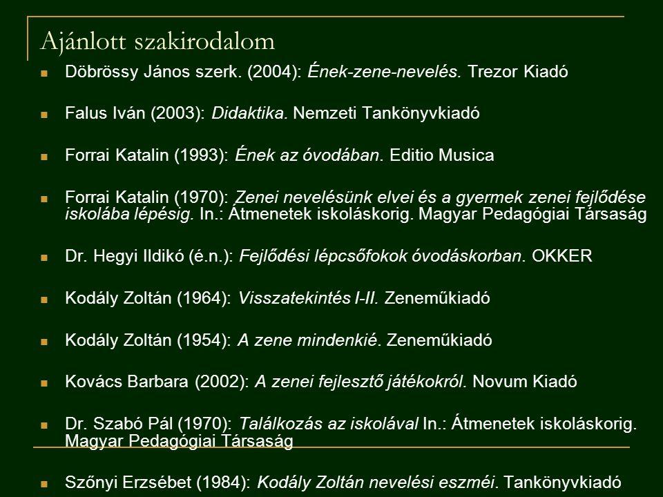 Ajánlott szakirodalom Döbrössy János szerk. (2004): Ének-zene-nevelés. Trezor Kiadó Falus Iván (2003): Didaktika. Nemzeti Tankönyvkiadó Forrai Katalin