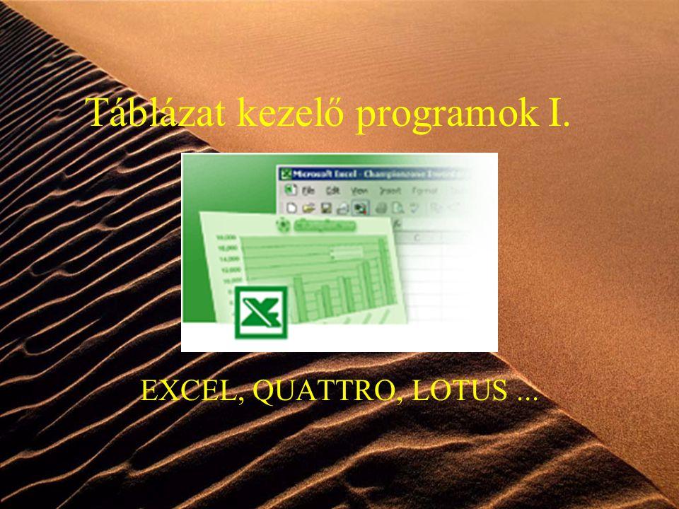 1 Táblázat kezelő programok I. EXCEL, QUATTRO, LOTUS...