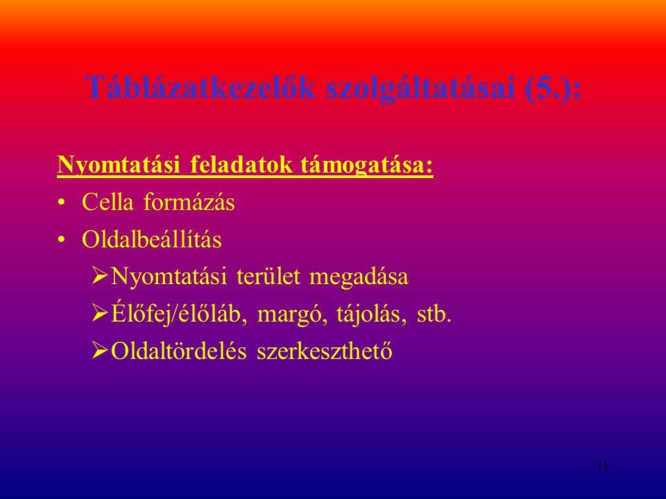 11 Táblázatkezelők szolgáltatásai (5.): Nyomtatási feladatok támogatása: Cella formázás Oldalbeállítás  Nyomtatási terület megadása  Élőfej/élőláb,
