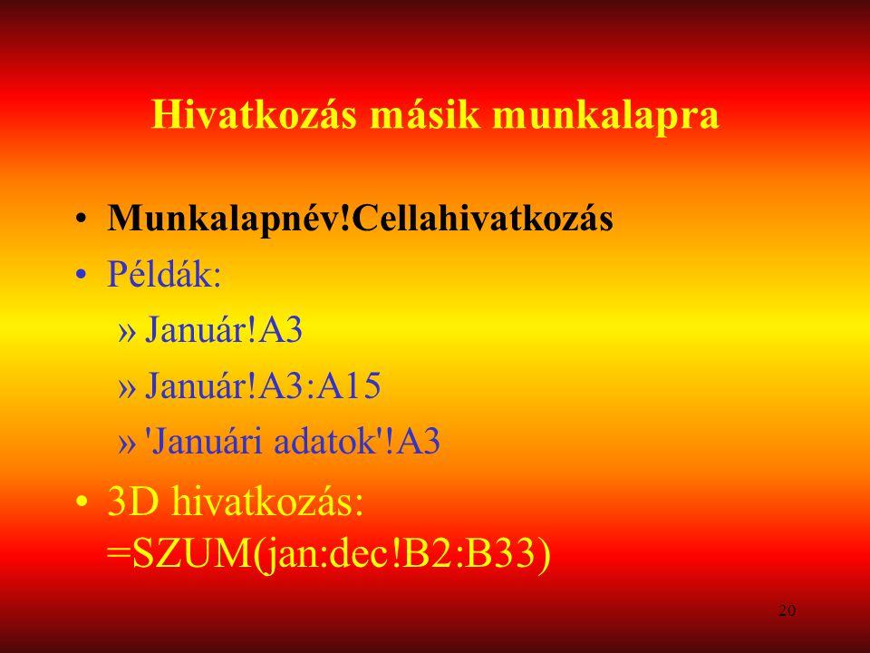 20 Hivatkozás másik munkalapra Munkalapnév!Cellahivatkozás Példák: »Január!A3 »Január!A3:A15 »'Januári adatok'!A3 3D hivatkozás: =SZUM(jan:dec!B2:B33)