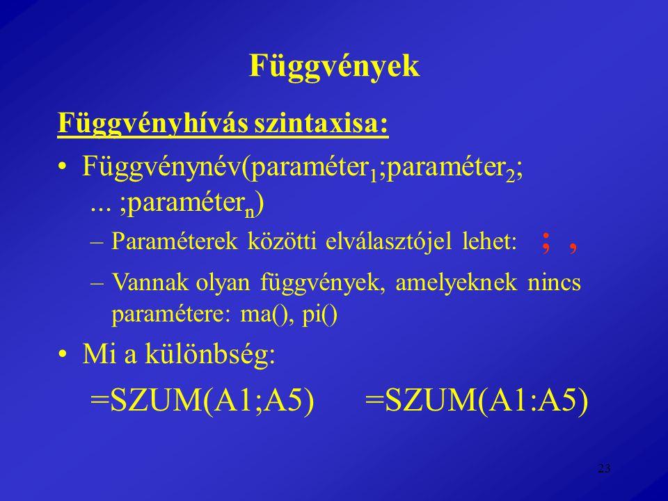 23 Függvények Függvényhívás szintaxisa: Függvénynév(paraméter 1 ;paraméter 2 ;... ;paraméter n ) –Paraméterek közötti elválasztójel lehet: ;, –Vannak