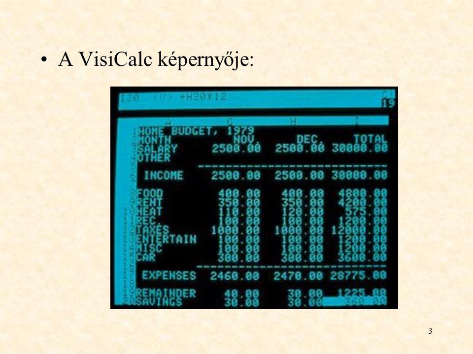 3 A VisiCalc képernyője: