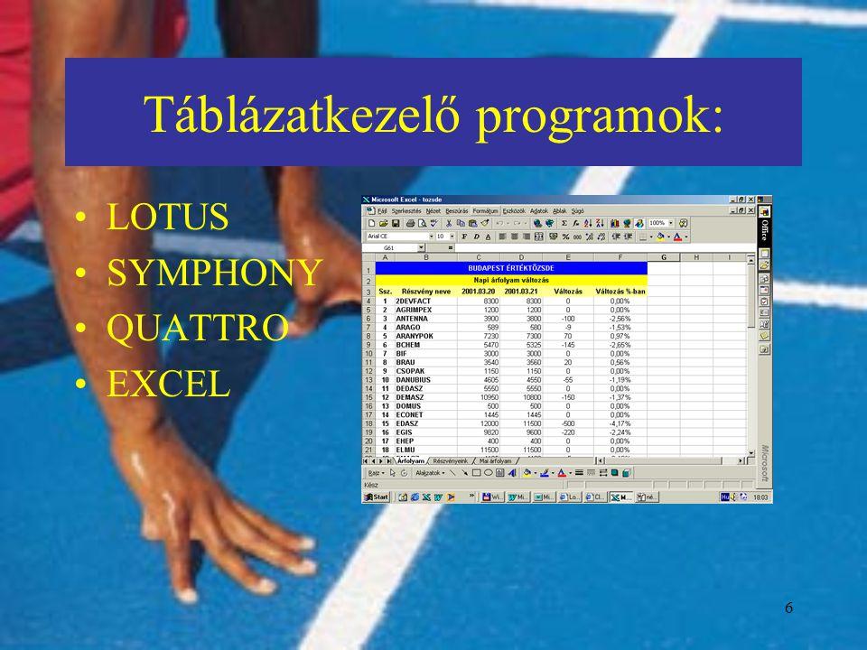 7 Táblázatkezelők szolgáltatásai (1.): a táblázat celláiban numerikus és szöveg típusú adatok tárolhatók, a cellák címét felhasználva számítási képletek definiálhatók, a számítás eredménye azonnal megjelenik a képernyőn, az adatok megváltoztatásával a képletek eredményeit (automatikusan) újra számolja a program, A számítási képletekben függvények széles választéka használható.