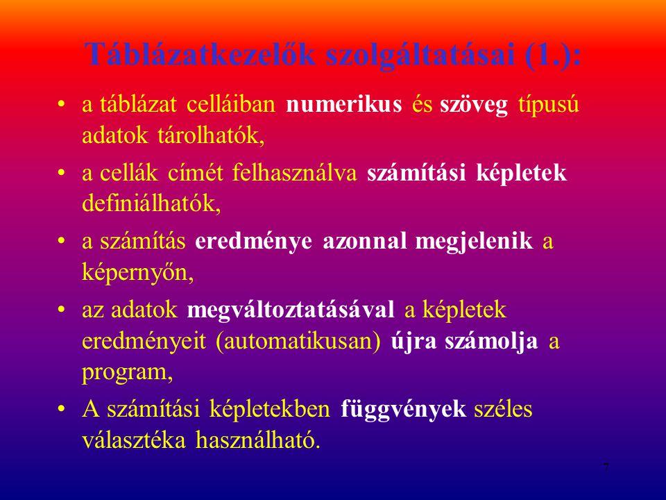28 Tömbfüggvények, tömbképletek EREDMÉNYE TÖMB, nem egy cella CTRL+SHIFT+ENTER GYAKORISÁG MSZORZAT, INVERZ.MÁTRIX TREND tömbképlet X