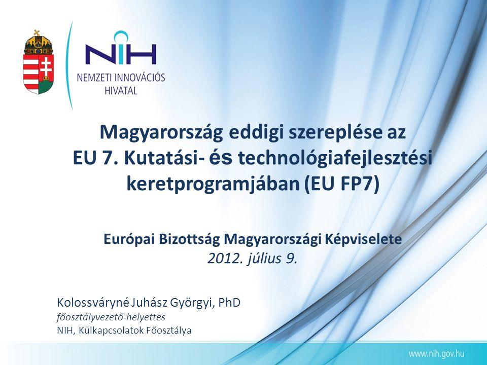 Magyarország eddigi szereplése az EU 7. Kutatási- és technológiafejlesztési keretprogramjában (EU FP7) Európai Bizottság Magyarországi Képviselete 201