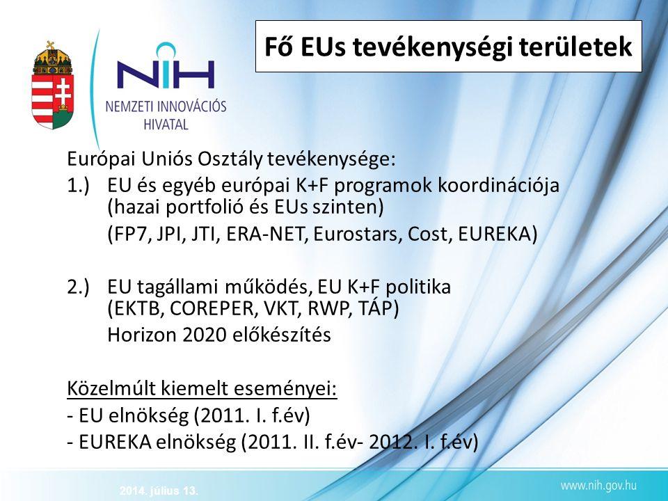 Fő EUs tevékenységi területek Európai Uniós Osztály tevékenysége: 1.)EU és egyéb európai K+F programok koordinációja (hazai portfolió és EUs szinten)