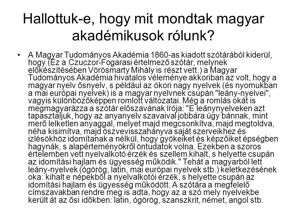 Hallottuk-e, hogy mit mondtak magyar akadémikusok rólunk? A Magyar Tudományos Akadémia 1860-as kiadott szótárából kiderül, hogy (Ez a Czuczor-Fogarasi