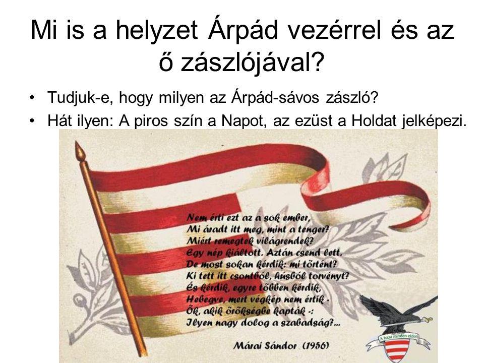 Mi is a helyzet Árpád vezérrel és az ő zászlójával? Tudjuk-e, hogy milyen az Árpád-sávos zászló? Hát ilyen: A piros szín a Napot, az ezüst a Holdat je