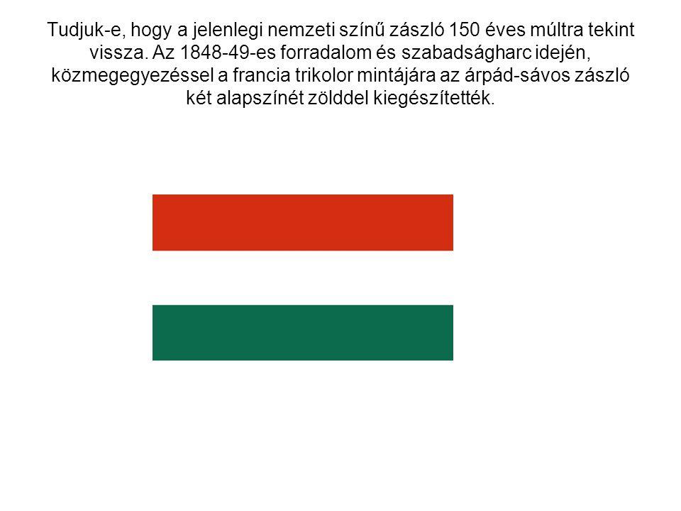 Tudjuk-e, hogy a jelenlegi nemzeti színű zászló 150 éves múltra tekint vissza. Az 1848-49-es forradalom és szabadságharc idején, közmegegyezéssel a fr