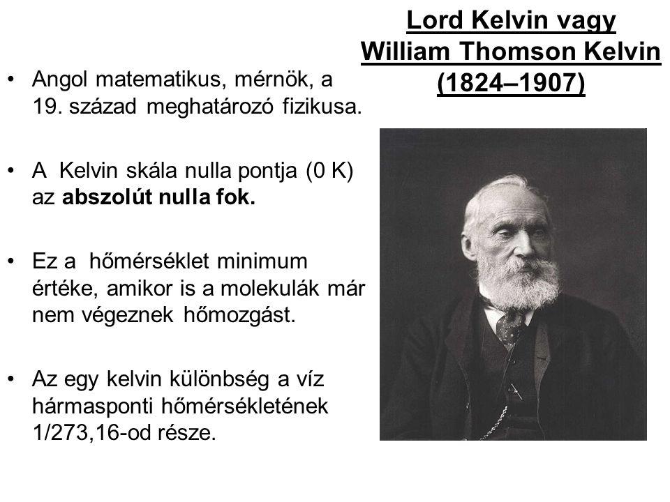Lord Kelvin vagy William Thomson Kelvin (1824–1907) Angol matematikus, mérnök, a 19.