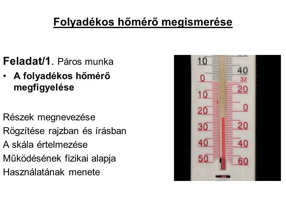 Folyadékos hőmérő megismerése Feladat/1.