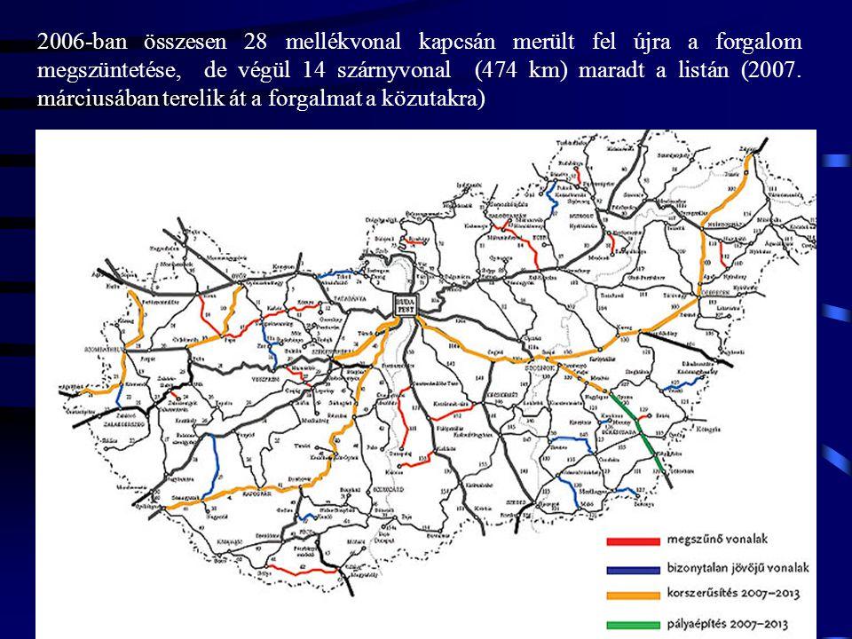 2006-ban összesen 28 mellékvonal kapcsán merült fel újra a forgalom megszüntetése, de végül 14 szárnyvonal (474 km) maradt a listán (2007. márciusában